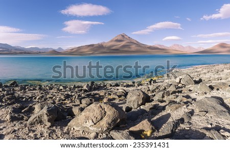 salt lake on altiplano, Bolivia - stock photo