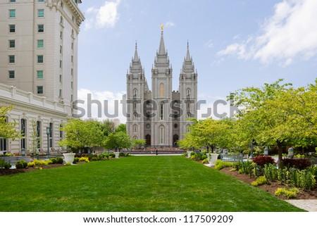 Salt Lake Temple in Salt Lake City, Utah - stock photo