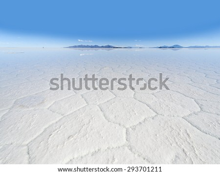 Salt lake Uyuni in Bolivia - stock photo