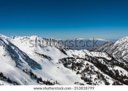 Salt Lake Valley and Little Cottonwood Canyon - stock photo