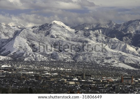 Salt Lake Valley with snow - stock photo