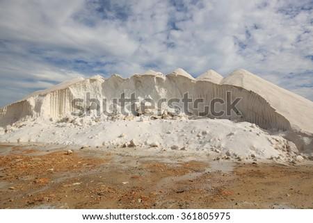 Salt Mine at Ses Salinas. Majorca Spain - stock photo
