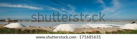 Salt-mine in Trapani, Sicily. Italy  - stock photo