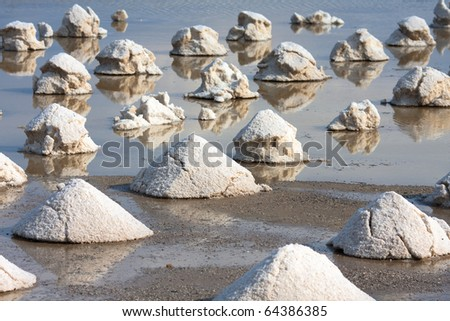 Salt mines in Sicily,closeup,shallow focus - stock photo