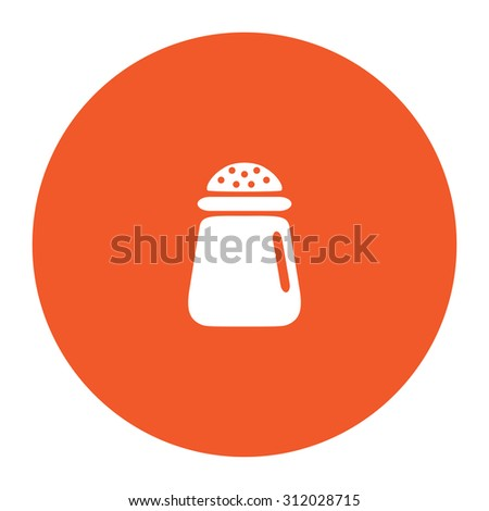 Salt or pepper -  icon isolated. Simple flat white icon in the orange circle. illustration symbol - stock photo