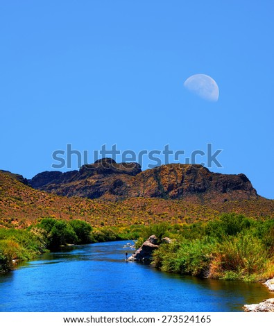 Salt river in Arizona large moon in background - stock photo