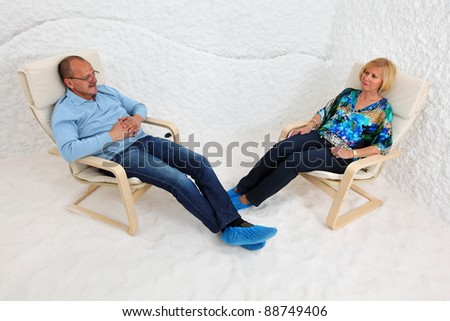 Salt room. Halotherapy for treatment of respiratory diseases. - stock photo
