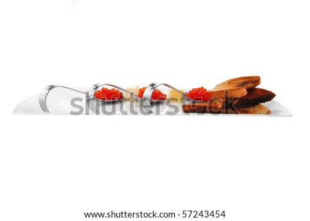 salt salmon red caviar served on plate - stock photo
