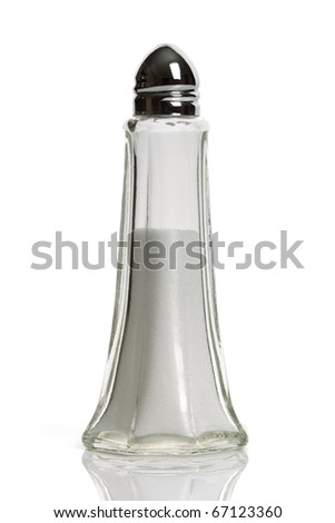 Salt shaker isolated on white - stock photo
