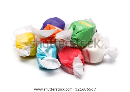 Salt Water Taffy on a White Background - stock photo