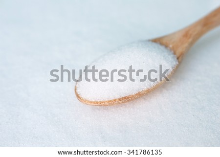 salt white  food cooking on spoon and background - stock photo