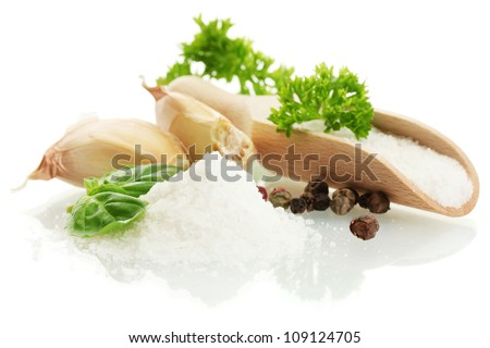 salt with fresh basiland parsley, garlic and pepper isolated on white - stock photo