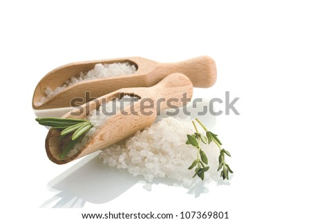 salt with fresh rosemary and thyme isolated on white