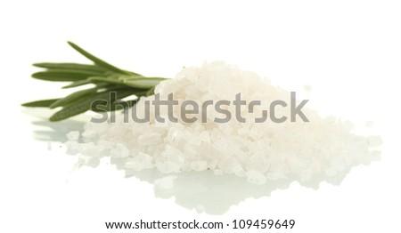 salt with fresh rosemary isolated on white - stock photo
