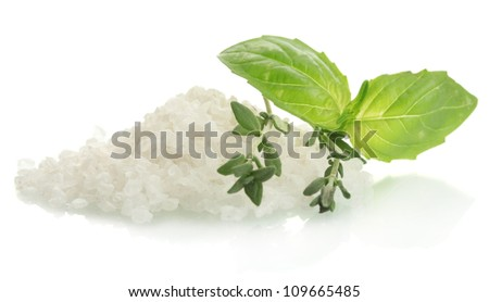 salt with fresh thyme and  basil isolated on white - stock photo