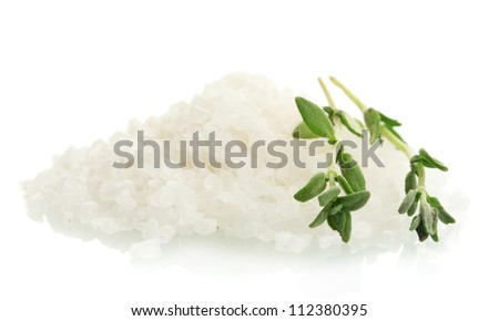 salt with fresh thyme isolated on white - stock photo