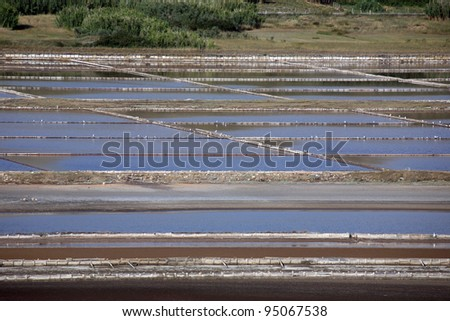 Salt work, Island of Pag, Croatia - stock photo