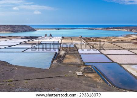 Salt works of Janubio, Lanzarote, Canary Islands (Spain) - stock photo