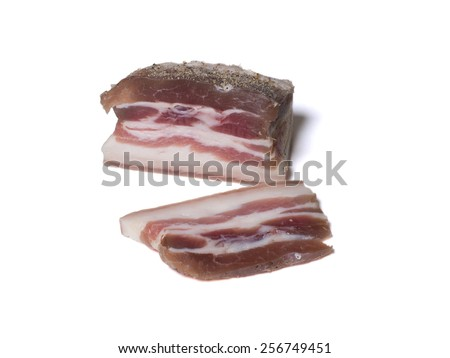 salted bacon on white background - stock photo