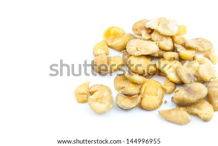 Salted Broad Beans on white background - stock photo
