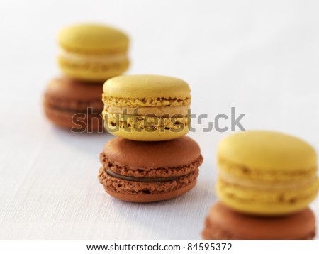 Salted butter toffee macaroons and Carambar macaroons - stock photo