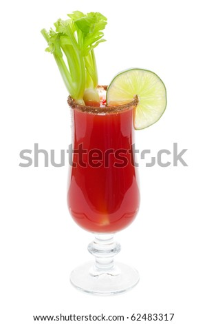 Salted Caesar cocktail with celery and lime studio isolated on a white background. - stock photo