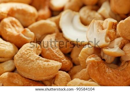 salted cashew macro - stock photo