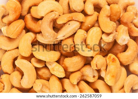 Salted cashew nuts Indian traditional snack - stock photo