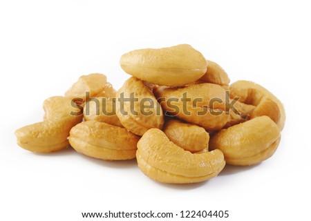 Salted cashews on white background - stock photo