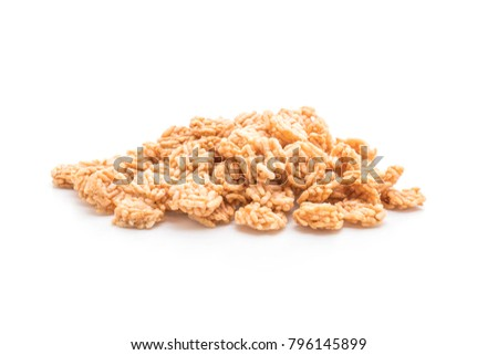 salted crispy rice isolated on white background