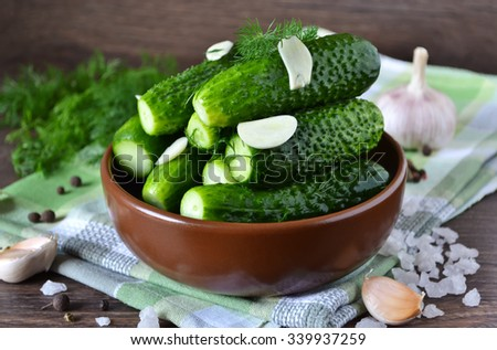 Salted, crunchy cucumbers with dill and garlic - stock photo