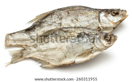 salted dried fish on a white background