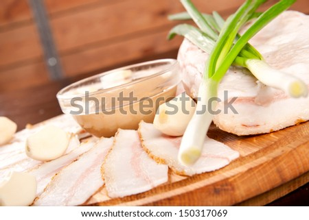Salted fresh lard (salo). Fatty food - stock photo