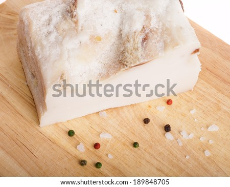 salted lard on white background