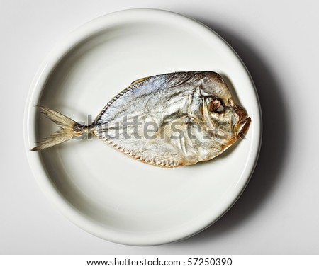 Salted moonfish on white plate