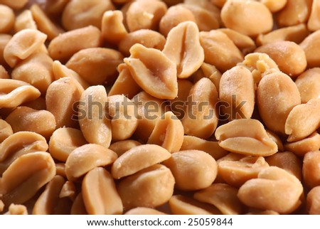 Salted peanuts in close-up