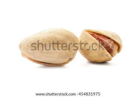 Salted pistachio nuts on white background -Clipping Path - stock photo