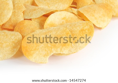 Salted potato chips with copyspace