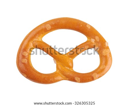 Salted pretzels, isolated on white background. - stock photo