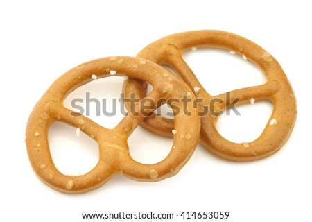 salted pretzels on a white background