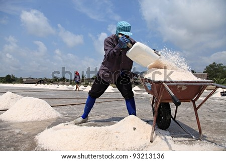 salted worker in thailand - stock photo