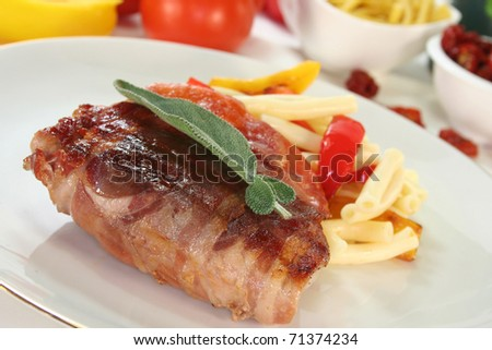 Saltimbocca with pasta and grilled vegetables