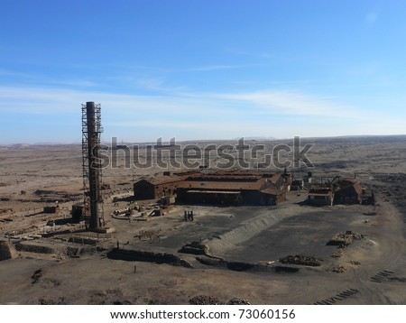 Saltpetre factory humberstone, chile - stock photo