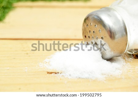 saltshaker on wood - stock photo