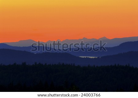 Saltspring Island sunset - stock photo