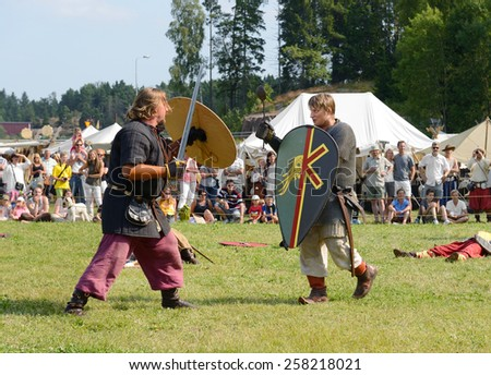 SALTVIK, ALAND ISLANDS, FINLAND - JULY 25,2013:Viking Market has gained huge popularity and with its 8000 - 9000 annual visitors it is one of major Viking markets in Scandinavia.