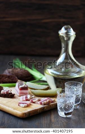 salty bacon  - stock photo