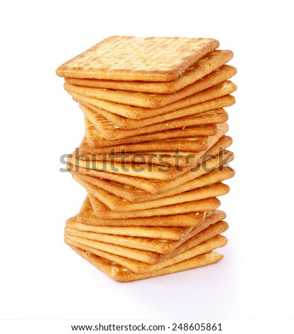 Salty Crackers are on white background. - stock photo