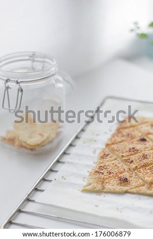 salty crackers with sesame seeds - stock photo