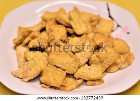 Salty fried tofu dish - stock photo